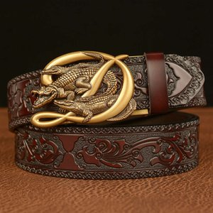 Crocodile automatic buckle men's genuine leather fashion personalized carved Jeans belt