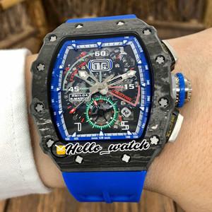 최고의 버전 새로운 flyback 큰 날짜 상단 탄소 섬유 케이스 RM11-04 Miyota Autoamtic 해골 다이얼 망 시계 블루 고무 시계 Hello_Watch