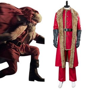 Fast Shipping Christmas Costume Santa Claus Cosplay Outfit Halloween Costumes men winter long coat Christmas Gift for Children