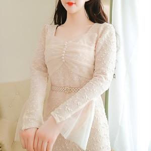 Cozigous Lace Mulheres Dress New Flare Manga Vestidos Damasco 7803