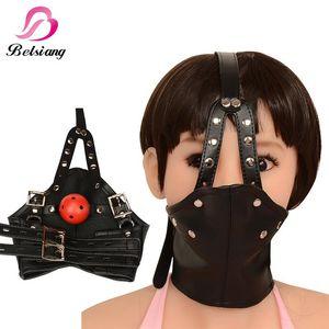 Bdsm Mask Бандаж Игрушки Игрушки Кожа Hood Restraints Mouth Gag Sexy Bondage передач Жгут Фетиш Для тела секс рабынь Эротический Y1811080 Heuf