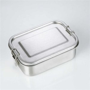 Stainless Steel Reusable Lunch Container 2 Compartment Bento Box Eco-Friendly Metal Food Storage Lunchbox for School Office Meal Prep A05