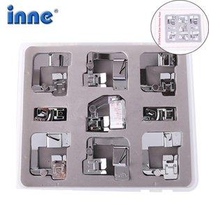 Inne 9pcs Máquina de coser Presser Pie Pies Juego Conjunto Con Caja Herramientas Cantante Herramientas Accesorio Ajustable Tap Tap Bias Material Rodado