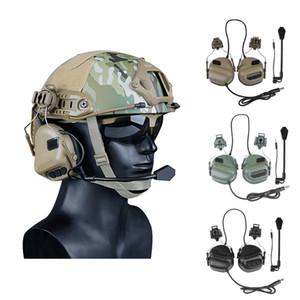 Auriculares tácticos más nuevos con adaptador de ferrocarril de casco rápido Militar Airsoft CS Disparos Auriculares Ejército Comunicación Accesorios