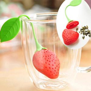 Strawberry Shape Silicon Tea Infuser Strainer Filter Silica Gel Tea Bag Tea Filter Teas Tools Cup Hanger EWF4314