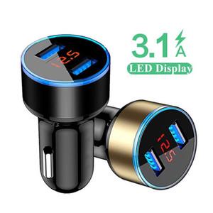 3.1A Dual USB Автомобильное зарядное устройство 2 порта ЖК-дисплей Индикатор сигареты гнездо прикуривателя Быстрое Автомобильное зарядное устройство адаптер питания для Sony
