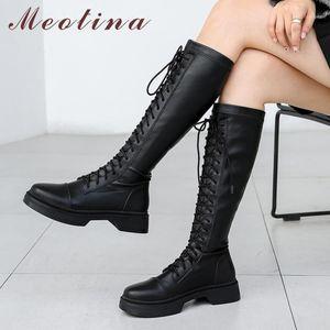 Meotina Gerçek Deri Platformu Orta Topuk Motosiklet Çizmeler Kadın Uzun Çizmeler Ayakkabı Lace Up Blok Topuklu Diz Yüksek Sonbahar Kış1