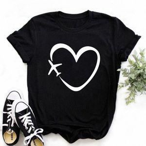 Zogankin Femmes Tshirt Black Tshirt Voyage Heart Love Print Coton Casual T-shirt Funny T-shirt Cadeau Lady Yong Girls Tops Tee 3 Colos # 2V1D