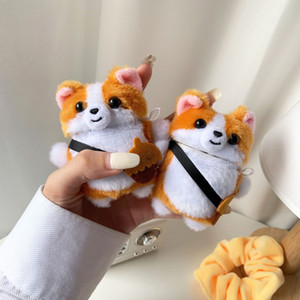 Cartoon Corgi Dog 3D Cute Plush Toy 3D Earphone Case Protect For Airpods 1 2 Case with Keychain Accessories Coque For air pods 2