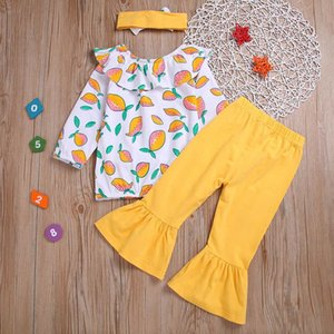 INS lemon girls suits sweet blouse+flared trousers+headbands 3pcs set baby girls outfits baby girl clothes Infant Outfits