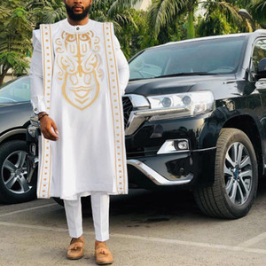 H&D Gold Embroidery White agbada men african traditional clothes nigeria outfit cover shirt pants 3 PCS suit muslim sets PH9039