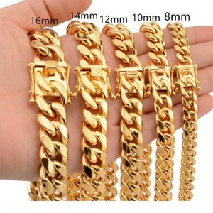 News Arrival 8 10 12 14 16 18mm Stainless Steel Miami Curb Cuban Chain Necklaces Casting Dragon Lock Clasp Mens Rock Dj Jewelry J190711