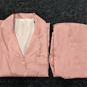Lettera Stampa Donna Pigiama Pigiama Fashion Silky Satin Donne Sleepwear Inverno Manica lunga Ladies Home Abbigliamento Set