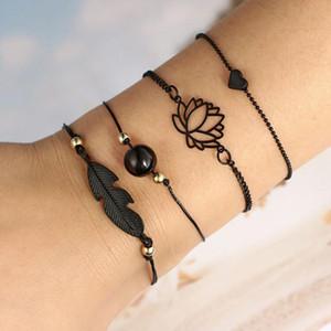 Fashion Bohemia Leaf Knot Hand Cuff Chain Charm Bracelet Black Love Heart Openwork Lotus Ball Leaves Bracelet 4pcs Set