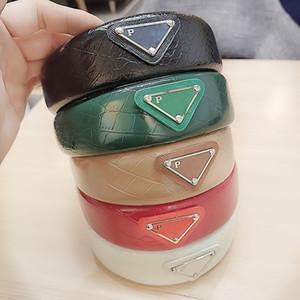 Trendy  imitation crocodile leather headband Pr A letter ladies fashion color triangle headband hair accessories hair accessories