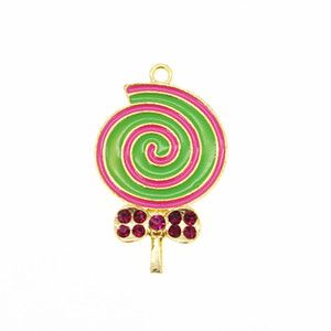 Pure spin Colorful crystal enamel lollipop pendant necklace rhinestone lollipop kids tiny charm pendant