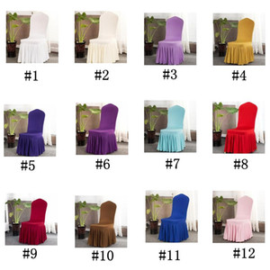 Chair Skirt Cover Wedding Banquet Chair Protector Slipcover Decor Pleated Skirt Style Chair Covers Elastic Spandex Chairs Covers OWE2052