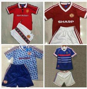 bambini Retro Man Utd Cantona ZIDANE HENRY Jersey di calcio 1998 99 83 90 92 Beckham Giggs v.NISTELROOY ROONEY antica maglia da calcio