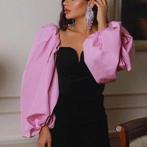 Elegante patchwork velluto camicetta lanterna sleeve camicie femminili casual stile corto chic tops Blusas Mujer Y200402