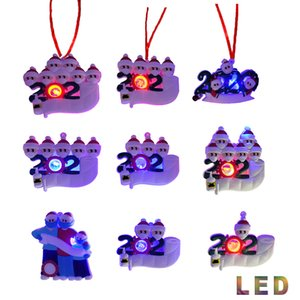2020 Christmas Quarantine Ornament 2021 Led Christmas Decorations Ornaments Personalized DIY Name Family Hang Christmas Tree Decoration