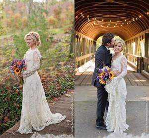 2021 Boho Wedding Dresses Scalloped V Neckline Long Sleeves Sweep Train Custom Made Plus Size Country Wedding Bridal Gown Vestido de novia