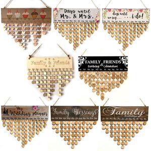 Семейные Слова висячих DIY Деревянного Календарь Kalendar Напоминание Board Plaque Home Decor подвесок Colorfu