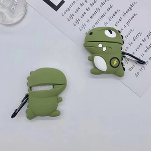 Bluetooth Earphone Case for Airpods 1 2 Pro Cute Cartoon Green Dinosaur Silicone Storage Headphone Box Shell for Airpod Case
