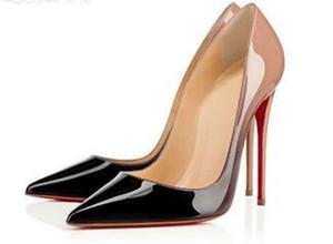diseñadorescristianoCLLouboutinNuevas damas rojo de diseño zapatos de tacón alto inferiores negras desnudas zapatos de tacón de aguja de cabeza redonda en punta roja