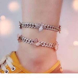 New arrived Ankle Chain Women gold silver rosegold Cuban Link iced out cz pink butterfly anklets chain set jewelry
