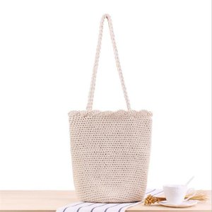 2020 new handmade design women shoulder bags casual knit travel bags for girls cotton strap handbags shopping KC-001