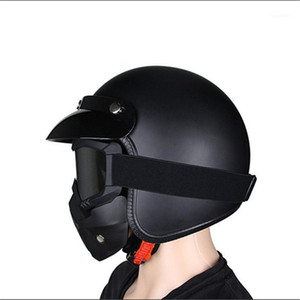 Motorcycle Helmet vintage Half Face Helmet Retro German Chopper Cruiser Matte Black helmets cascos para DOT Approvel1