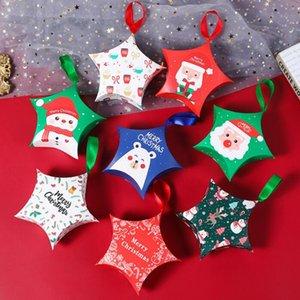 Cajas de regalo de Navidad creativas Cuerda colgante Llevar bolsas Navidad Caja de dulces Papá Noel Claus Cajas de papel Diseño Caja de embalaje OWB2808