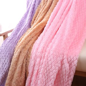 Ultra Soft Minky Fleece Mermaid Diamond Lattice Blanket Fluffy Spring Autumn Nap Sofa Throw Blanket
