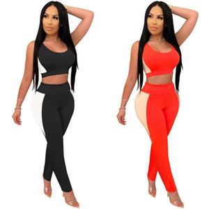Zoctuo 2 Piece Set for Women Patchwork Going out Outfits Tracksuit O-Neck Tank Top and Leggings Two Piece Set Sports Set C0123