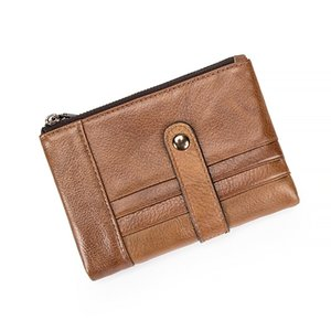 Men's Retro Wallet Cowhide Short Wallet Leather Zipper Card Case Driver's License Bag Female Wallet Coin Purse