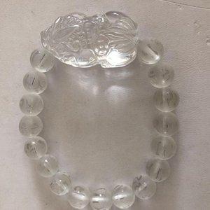 Commercio all'ingrosso parole JoursNeige Scrub Sei cristallo bianco Bracciali Tonda naturale con piacevoli PiXiu fortunato per Girl gioielli di cristallo