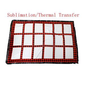 Manta de la rejilla en blanco de sublimación 125 * 150cm Transferencia térmica Tela Lámina de sublimación a cuadros con borlas 18 Gridos de alfombra
