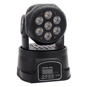 80W 7 RGBW LED Auto   Voice Control DMX512 Mini Moving Head Stage Lamp (AC 110-240V) Black