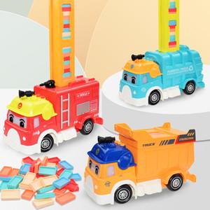 도미노 기차 자동차 세트 키즈 사운드 라이트 자동 누워 벽돌 다채로운 도미노 블록 게임 장난감 세트 아이들을위한 선물 차량 TSLM1 Q0123