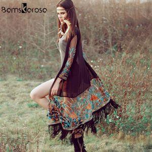 Bamskarosa Bohemian Style Summer Kimono Cardigan Casual Fashion Boho Hippie Ricamo nappa Caselle Shirts Donne Tops LJ200812