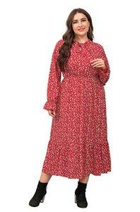 Tasarımcı Flora Baskılı Elbiseler Sonbahar Uzun Kollu Mürettebat Boyun Casual Elbise Plus Size Kadınlar Giyim Womens