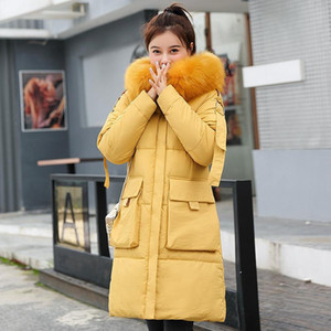 Women Winter Jacket Cotton Padded Warm Thicken Big Fur Collar Ladies Long New Coats Parka Womens Jackets