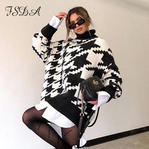 FSDA Langarm-Herbst-Winter-Maxi-Strickjacke-Kleid-Frauen Turtleneck schwarze beiläufige Knit Mini Houndstooth Sexy Partykleider