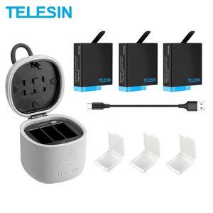 TELESIN 3PACK Battery 3 Slots Charger Set TF Card Reader Storage Charging Box for Gopro 8 Hero 8 7 Black Hero 6 Hero 5 Q0109