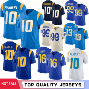 10 Justin Herbert 13 Keenan Allen 99 Aaron Donald Hommes Football Jerseys 16 Jared Goff 97 Joey Bosa 33 Derwin 2021 Nouveau Jerseys S-XXXL