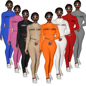 2020 Designer Women Tracksuits 2 Piece Jogging Suit High Collar Embroidered Letter zipper Top Leggings Sports Outfits Ladies Casual Clothes