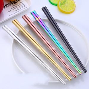 Paslanmaz Çelik Sofra Chopstick 23cm Kare Multi Color Hotel Ana elektrolizle Titanyum Altın Çatal Chopsticks 4 3xc G2