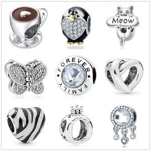 2020 Nuevas cuentas de metal Taza de café Forever Family Charms Fit Pandora Charm Bracelets DIY Joyería Mujeres Moda Accesorios