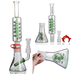 Green Beaker Bong Recycler Oil Rigs Glass Bong Removable Water Pipe Best Bongs Thick Water Bong Sprial Perc Stemless Bongs