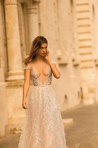 2020 Berta Wedding Dresses Deep V Neck Lace Appliqued A Line Sexy Backless Cap Sleeve Beach Wedding Gowns Sweep Train Boho Bridal